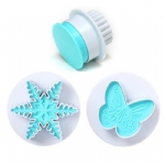 2pcs snowflake butterfly cake decorating plunger cutter PL-252